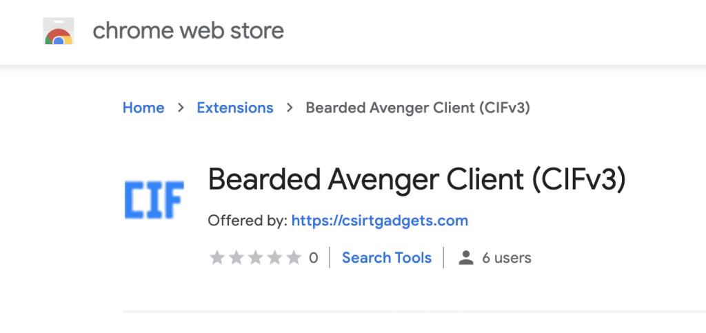 screenshot of CIF plugin in chrome store